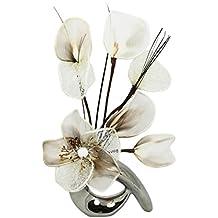 Flourish 798529 - Jarrón con Diseño de Flores Crema de café, ...