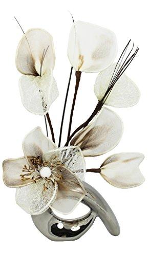 Flourish 798529 - Jarrón con diseño de flores crema de café, cromado/plateado