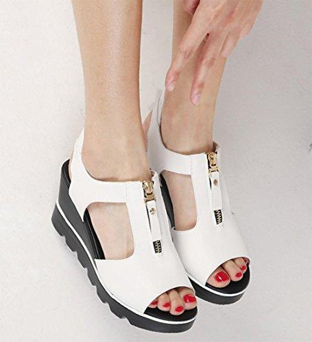 Printemps et en été des sandales à talons hauts sandales à muffins en croûte épaisse tête de poisson femme femmes sandales imperméables White
