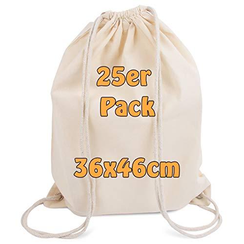 Cottonbagjoe Moderner Turnbeutel Baumwollrucksack Öko-Tex 100 Standard Zertifiziert Stoffbeutel mit Kordelzug schwarz 36x46cm (Natur, 25)