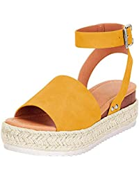 91d44a5441a0 Poplover Womens Open Toe Flatform Espadrilles Buckle Ankle Strap Sandals