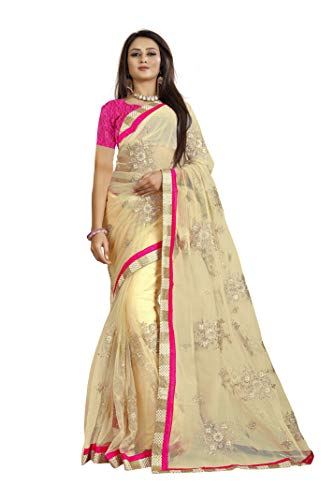 Namstey Fashion Women\'s Net Saree With Blouse Piece (Nf-589_Multicolor)