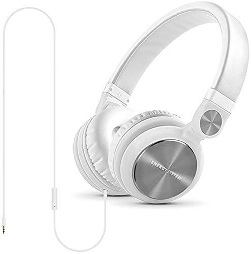 Energy Sistem Headphones DJ2 (DJ Kopfhörer, klappbar, mit 180º Drehung, abnehmbares Kabel, Mikrofon und Freisprechfunktion)- Weiß
