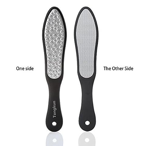 tongkun® Fuß Datei Hornhaut Entferner doppelseitig Edelstahl Metall Pediküre Raspel, glättet trockene rissige Fersen, Peeling abgestorbene Haut, und Rasuren Schwielen