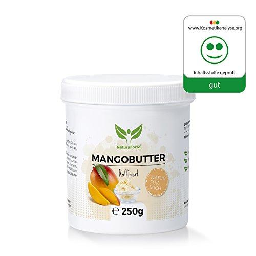NaturaForte Mango-Butter 250g, Natur-Kosmetik, Pflege Vegan, Body-Butter, Spendet Feuchtigkeit