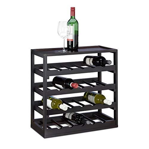 aus Holz H x B x T: ca. 52 x 52 x 25 cm robustes Flaschenregal für Wein Weinflaschenregal in edlem schwarz Weinflaschenhalter mit 4 Ebenen für 20 Flaschen Flaschenhalter, schwarz ()