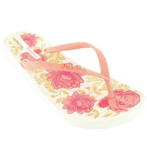 Damen iPanema Petal II Sommer Flip Flop Rutsch Auf Floral Sandale Weiß
