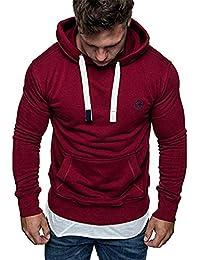 Felpe con Cappuccio Uomo Pullover Sweatshirt Maniche Lunghe Tasche Felpa  Sportive 46174e149b8