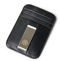 RFID Blocking Soft Vintage Genuine Cowhide Leather Men Money Clip Women Simple Wallet for Male Credit Card Wallet Slim Minimalist Clamps for Unisex (Black)-QB44-2