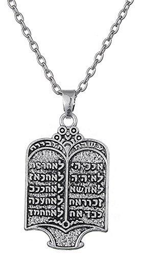 Dawapara 10 Gebote Hebräische Halskette Judiaca Messianic Jüdische Yeshua Symbol Anhänger Schmuck für Männer und Frauen