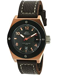 gino franco Men's 9658BR Round Rose Gold-Plated Stainless Steel Calf Leather Strap Watch