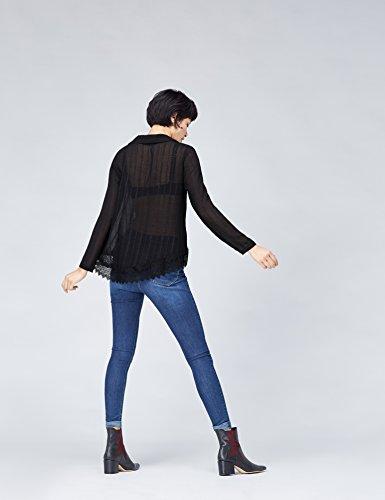 FIND Damen Bluse mit Spitze Schwarz (Black)