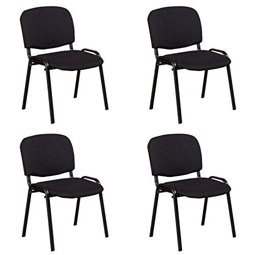 Stapelstuhl Konferenzstuhl Polsterstuhl 4er Set in Stoff Metall schwarz stapelbar