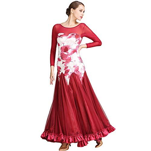 e Kleider Leistung für Frauen, Walzer Gesellschaftstanz Wettbewerb Langarm Druck Tüll Muster Spleiß (Color : Wine Red, Size : M) ()