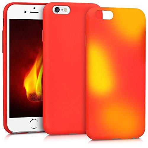 Kwmobile apple iphone 6 / 6s cover - custodia in silicone tpu - back case protezione per apple iphone 6 / 6s rosso/giallo
