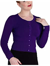Hell Bunny Ladies Paloma 50s Plain Cardigan Shrug Top Purple All Sizes
