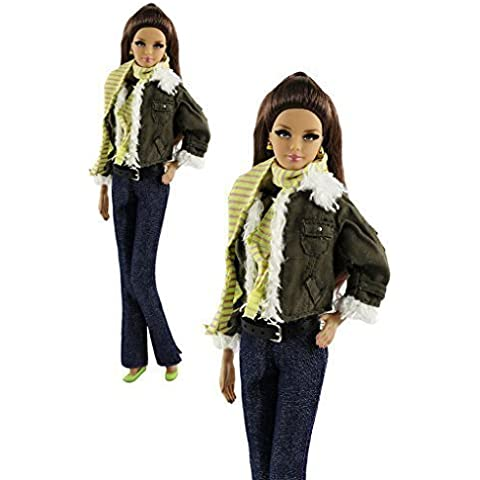 6 in1 Set Fashion Outfit vestiti Coat + Vest + Pants + sciarpa + cappello + Scarpe per Barbie Doll