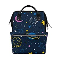 BKEOY Backpack Nappy Bag Colorful Planets Night Sky Stars Diaper Bag Multifunction Travel Daypack for Mommy Mom Dad Unisex