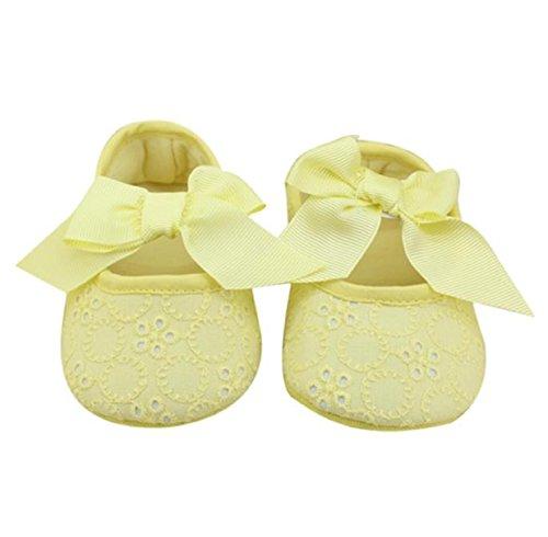 BZLine® Ruban Bowknot Chaussure Bébé Fille en Coton - Bébé Chaussure de Premier Pas (12~18 Mois, Rouge) Jaune