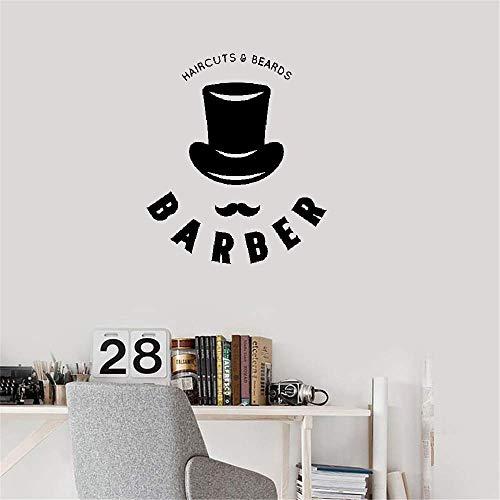 Wandaufkleber Kinderzimmer Schnurrbart Bärte Barbershop Schere Hut Muster Mann Friseursalon Fenster Haarschnitt Dekor