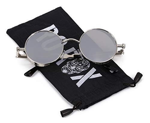 Ro Rox Damen Herren Steampunk Retro Runde Sonnenbrille - Spiegel - Silber