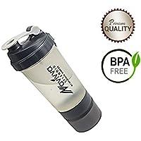 Shaker Bottle, Grey, Protein Shaker Bottle, Bottle Shaker for Protein, Shaker Bottle with Ball, Shaker Bottle with Storage, Gym Protein Bottle, Blender Bottle, Protein Shaker by NAVIVVA SPLENDID