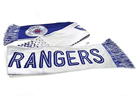 Glasgow Rangers FC Football Club White Blue Jacquard Scarf Badge Crest Official