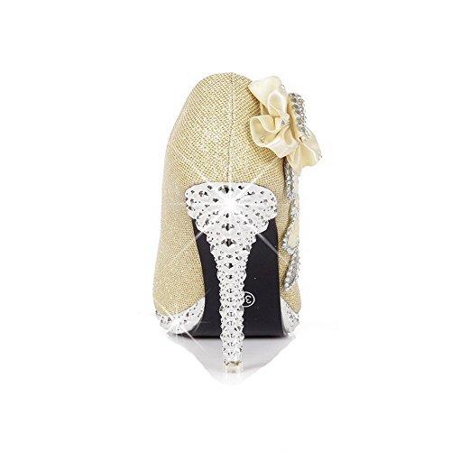 VogueZone009 Femme Rond Tire Tissu à Paillette Couleur Unie à Talon Haut Chaussures Légeres Doré