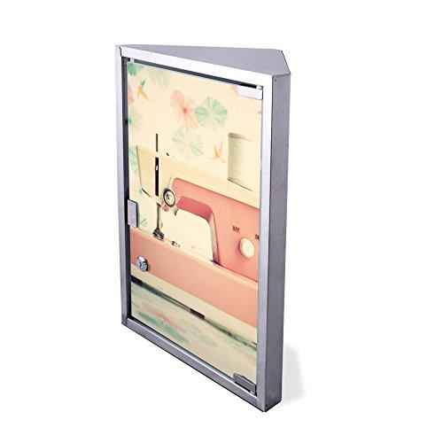 Edelstahl Medizinschrank Eckschrank abschließbar 30x17,5x45cm Badschrank Hausapotheke Arzneischrank Bad Nähmaschine