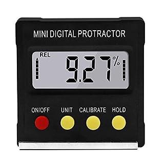 Mini inclinómetro de transportador digital de 360   grados Caja de nivel electrónico Herramientas de medición de base magnética (negro)