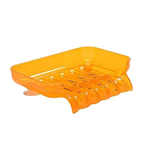 PU-RAN Kunststoff Badezimmer Küche WASSERFALL Ablauf Seifenschale Halter mit Saugnapf Schwamm Werkzeug, plastik, Orange, Einheitsgröße