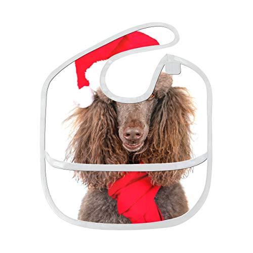 Nettes Mädchen Lätzchen Closeup Portrait Standard Pudel Weihnachten Santa Benutzerdefinierte weichen Fleck Baby Fütterung Dribbeln Sabbern Lätzchen Rülpsen für Kleinkinder 6-24 Monate Closeup Portrai -