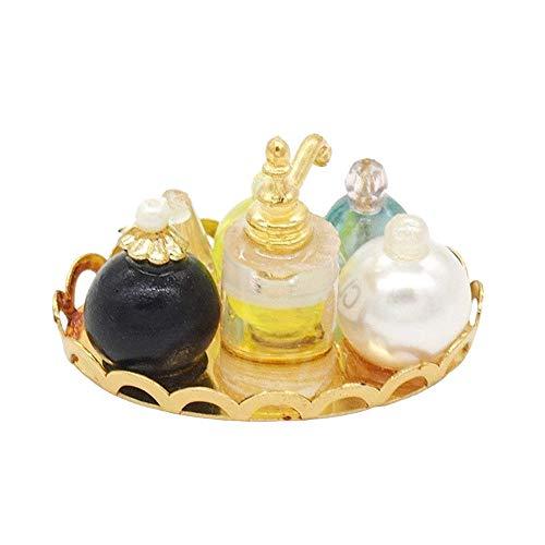 Parfüm Set in Golden Tablett Für Puppenhaus Dekoration Zubehör ()