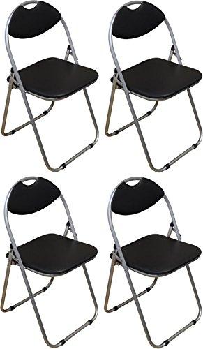Chaise pliante rembourrée - pour le bureau - noir - lot de 4