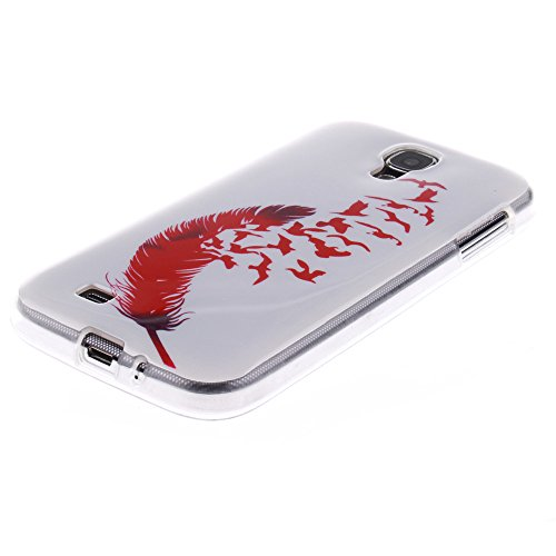Samsung Galaxy S4 hülle MCHSHOP Ultra Slim Skin Gel TPU hülle weiche Silicone Silikon Schutzhülle Case für Samsung Galaxy S4 I9500 - 1 Kostenlose Stylus (Löwenzahn sich verlieben (Dandelions Fall in L Feder und Flying Birds (Feather and Flying Birds)