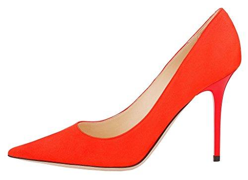 MONICOCO Übergröße High Heels Damenschuhe Spitze Zehen Stiletto Pumps für Party und Club Rot Samt