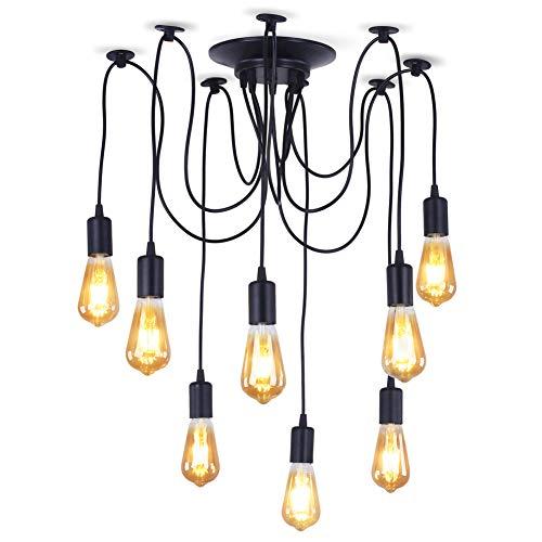 Lampadario a sospensione in stile industriale vintage retrò, con 8  lampadine con attacco E27, soluzione fai da te con lunghezza delle  lampadine regolabile