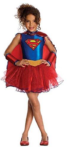 fiziell Lizenziert Supergirl Superheld Tutu Held Büchertag Halloween Kostüm Kleid Outfit - Blau, 5-7 Years (Mädchen Supergirl Kostüm)