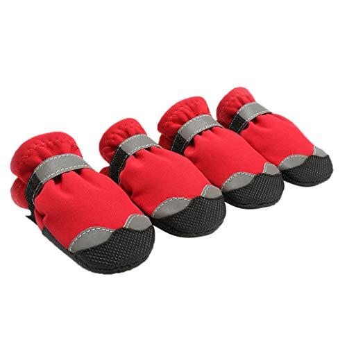 B Blesiya 4 Stück Hundeschuhe Anti-Slip Wasserdichte Schuhe Stiefel für kleine und große Hunde - Rot, ()