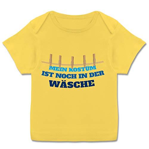 Karneval und Fasching Baby - Mein Kostüm ist noch in der Wäsche Wäscheleine blau - 68-74 (9 Monate) - Gelb - E110B - Kurzarm Baby-Shirt für Jungen und Mädchen in verschiedenen Farben