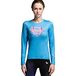 Cody Lundin® Mujeres Fitness compresión Superpersona Camiseta, película Tema héroe Manga Larga Deportes Camiseta, para Yoga ejecutando Deportes (XL, Azul)