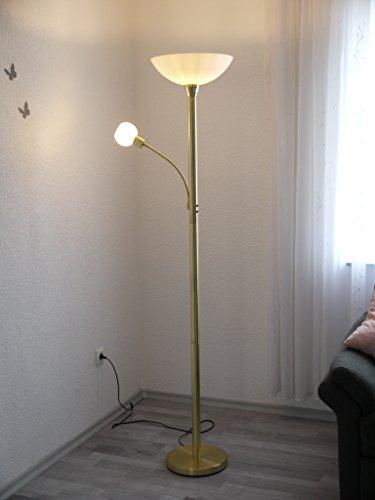LED Stehleuchte mit Lesearm Johanna Standleuchte messing Glas weiß Fluter Standlampe Leseleuchte LED austauschbar -