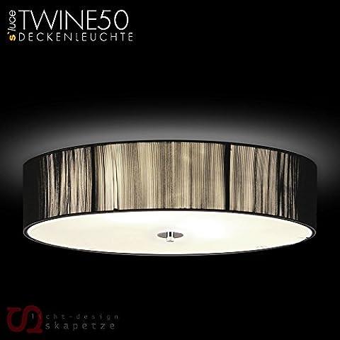 s`luce (Twine) BLACK Deckenlampe 4-flammig, Ø50cm/H12cm, schwarz CLD001 Ø50/H12