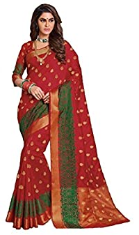 "Limonzâ""¢ - RAJGURU Designer Women Bright Red Raw Silk Sarees - Indian  traditional party 55ca8c0a5"