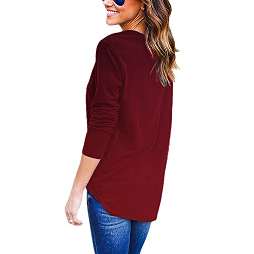 Bonboho -  Maglia a manica lunga  - Basic - Collo a U  - Donna Wine Red