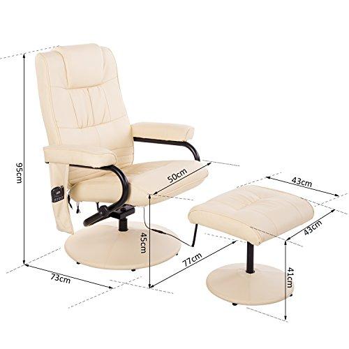 Homcom Massagesessel 921-006CW  inkl. Hocker Creme - 5