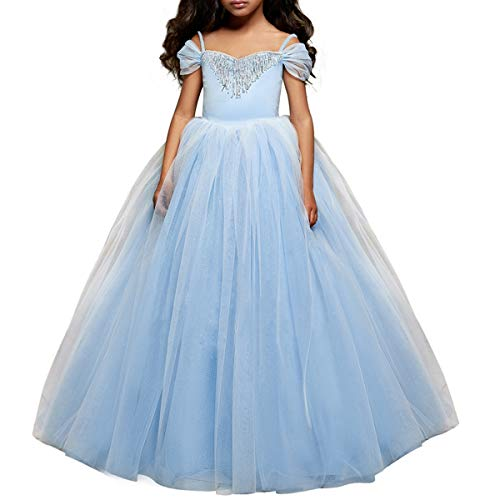 CQDY Cinderella Kostüm Kleid Für Kinder Mädchen Princess Kostüm Halloween Fancy Party Dress up Outfit Cosplay Kleider (Blau 2, 6-7 Jahre (120cm))