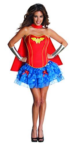 Fancy Ole - Damen Frauen Frauen Wonder Woman Kostüm mit Tutu Rock, Corsage, Umhang und Armstulpen, perfekt für Karneval, Fasching und Fastnacht, L, ()