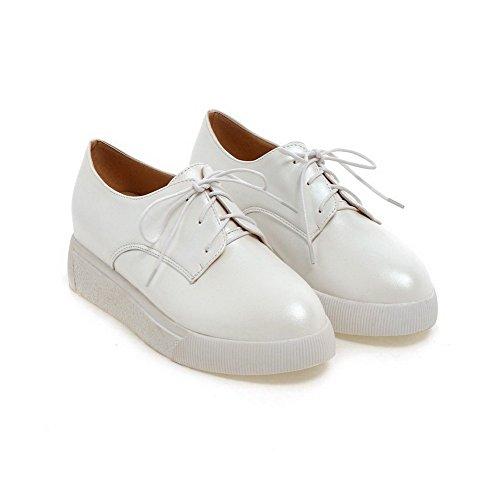 VogueZone009 Femme Matière Souple Rond Fermeture D'Orteil à Talon Bas Lacet Couleur Unie Chaussures Légeres Blanc