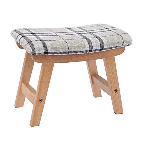DSHUJC Fußbank Ottoman gepolstertes Sofa Hocker aus Holz Kleine Hocker Removable Leinenbezug Wohnzimmer Flur (Farbe: T2, Größe: Walnuss Farbe) -